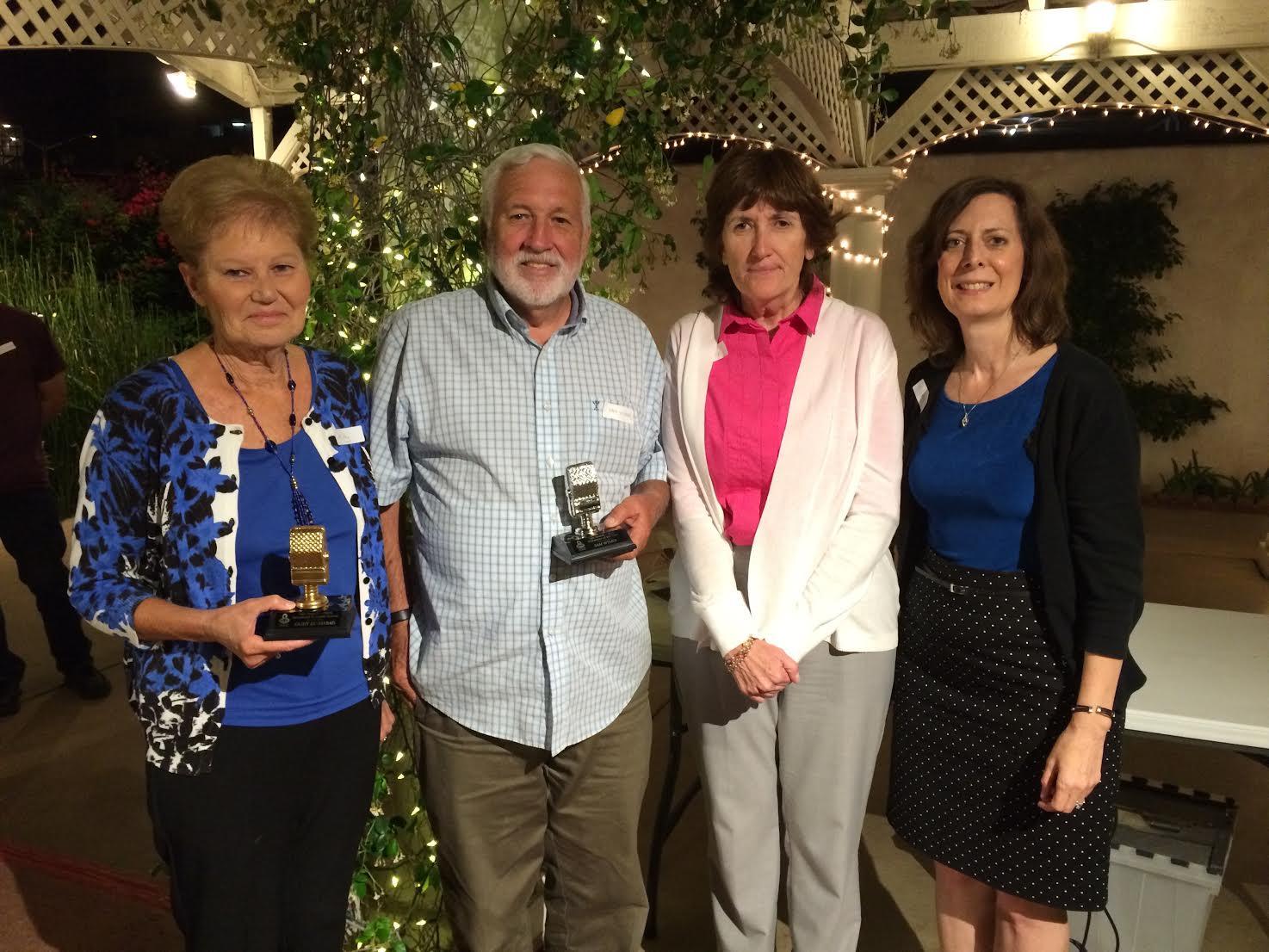 Gold Mic Winner Kathy Desmarais, Silver Mic winner Sam Wymer, Station Manager Mitzi Tharin, DIrector, Andrea Pasquale