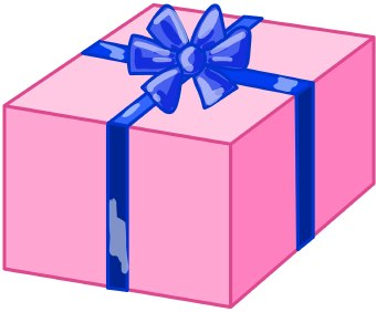 pink box with blue ribbon and bow