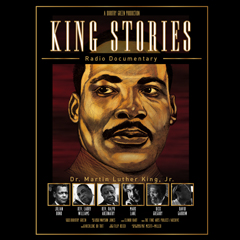 Artist sketch of face of Dr martin Luther King Jr with workds King Stories at the top