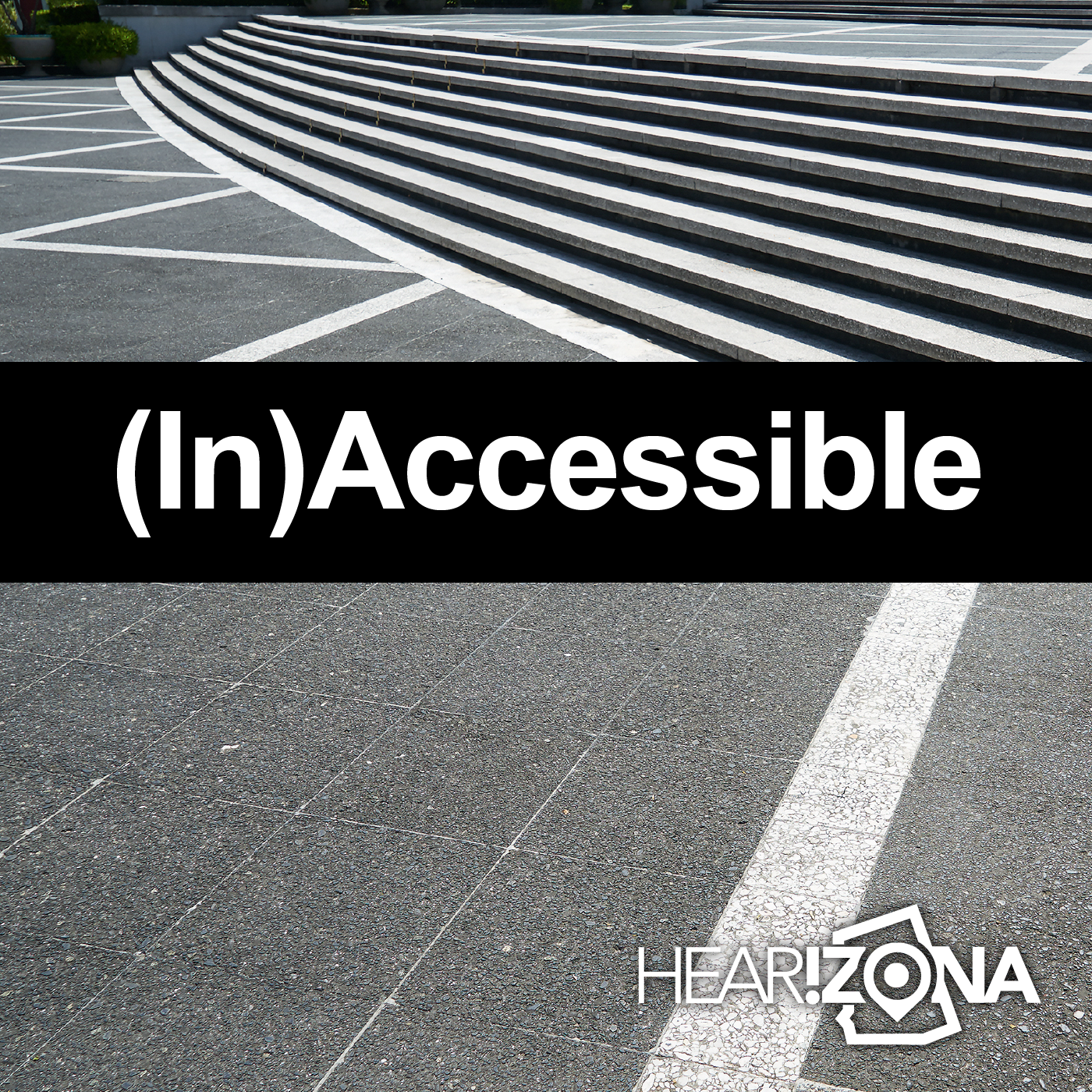"Cross walk by cement stairs. A black banner is across the photo with the words, ""(in)accessible"" written across"