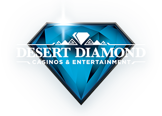 Sparkling blue diamond with a small white diamond in it with the words desert diamond caninos and and entertainment