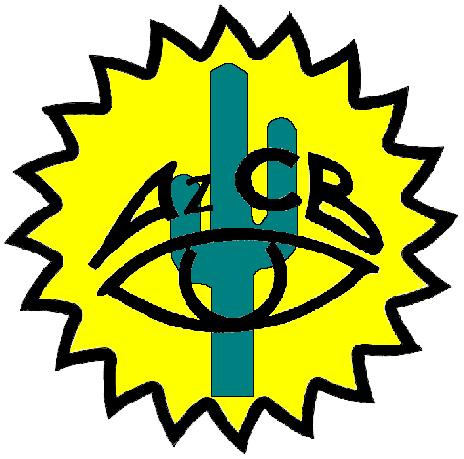 logo is a yellow sun with a green cactus inside and a black eye with the letters AZCB above it.